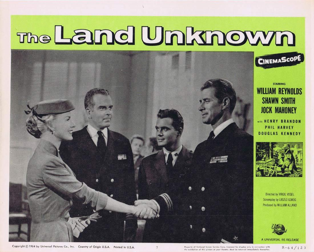 THE LAND UNKNOWN Lobby Card 7 Jock Mahoney Shirley Patterson Henry Brandon Dinosaurs