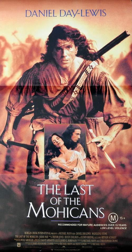 THE LAST OF THE MOHICANS Original daybill Movie Poster Daniel Day-Lewis