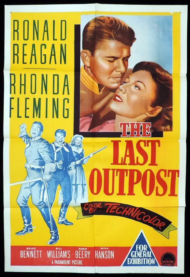 THE LAST OUTPOST Original One sheet Movie Poster Ronald Reagan Rhonda Fleming Bruce Bennett