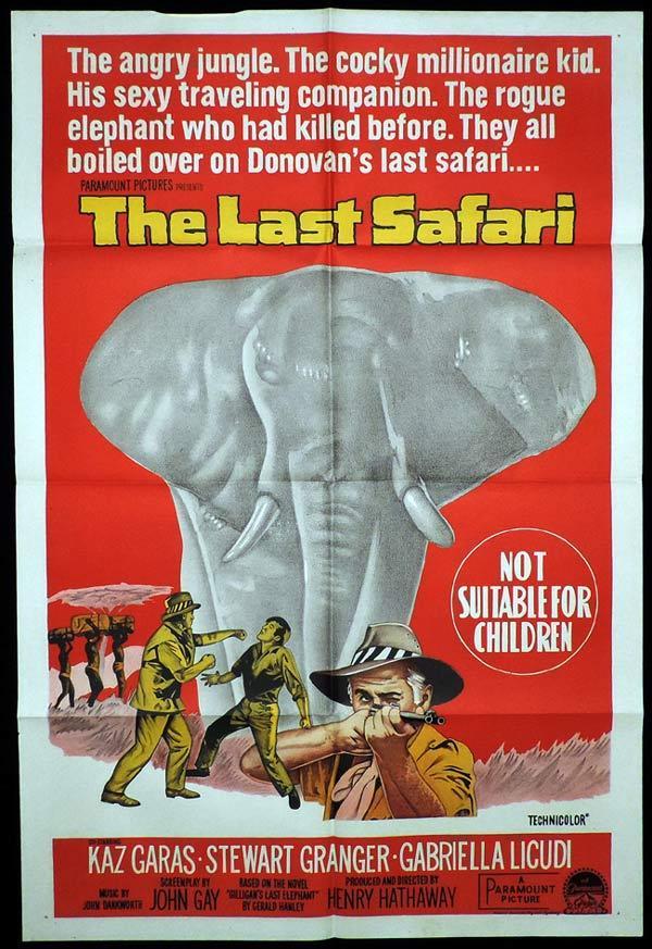 THE LAST SAFARI One Sheet Movie Poster Stewart Granger Elephant