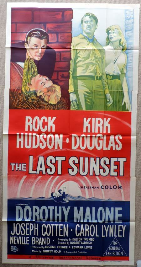THE LAST SUNSET Original 3 Sheet Movie Poster Rock Hudson Kirk Douglas