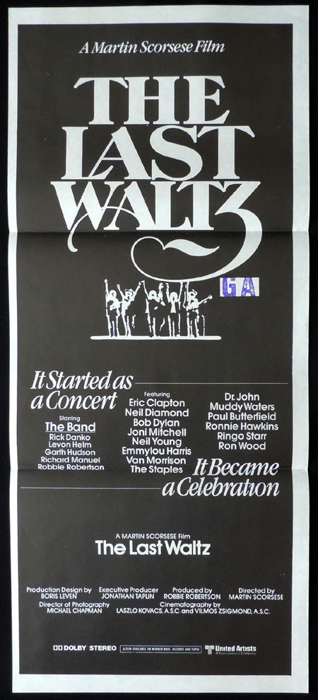 THE LAST WALTZ Australian Daybill Movie poster Martin Scorsese