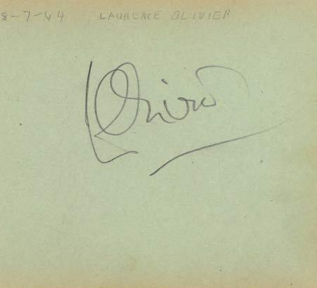 LAURENCE OLIVIER Autographed Album Page 1944