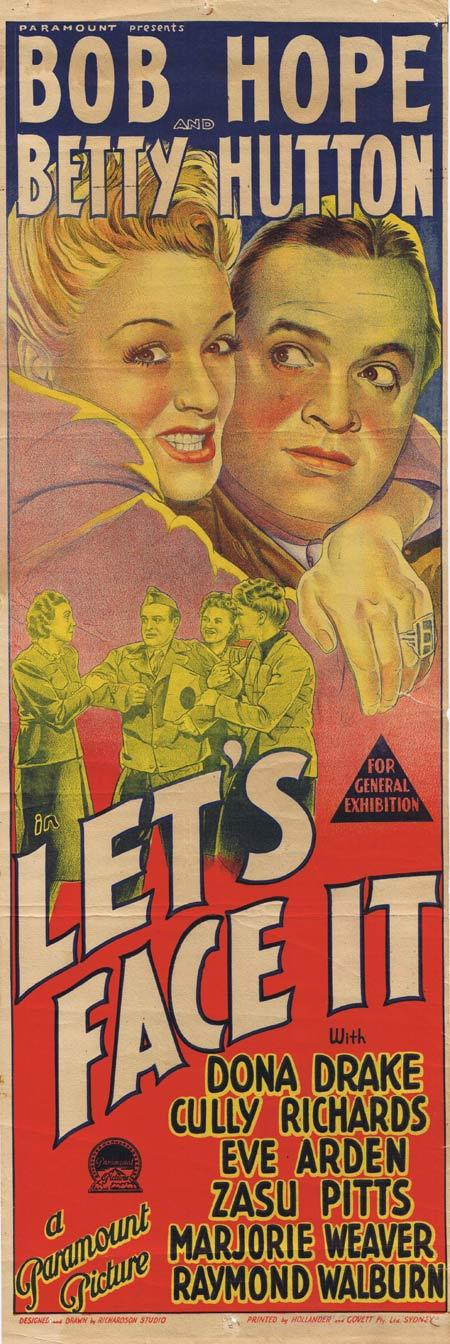 LET'S FACE IT Original daybill Movie Poster Bob Hope Betty Hutton ZaSu Pitts