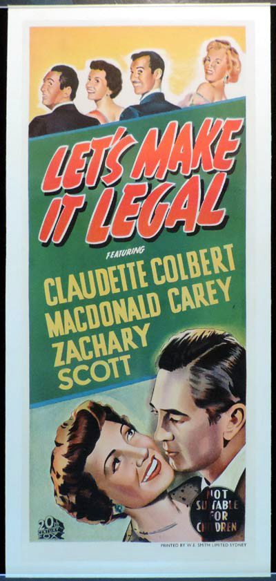 LET'S MAKE IT LEGAL Daybill Movie poster Marilyn Monroe
