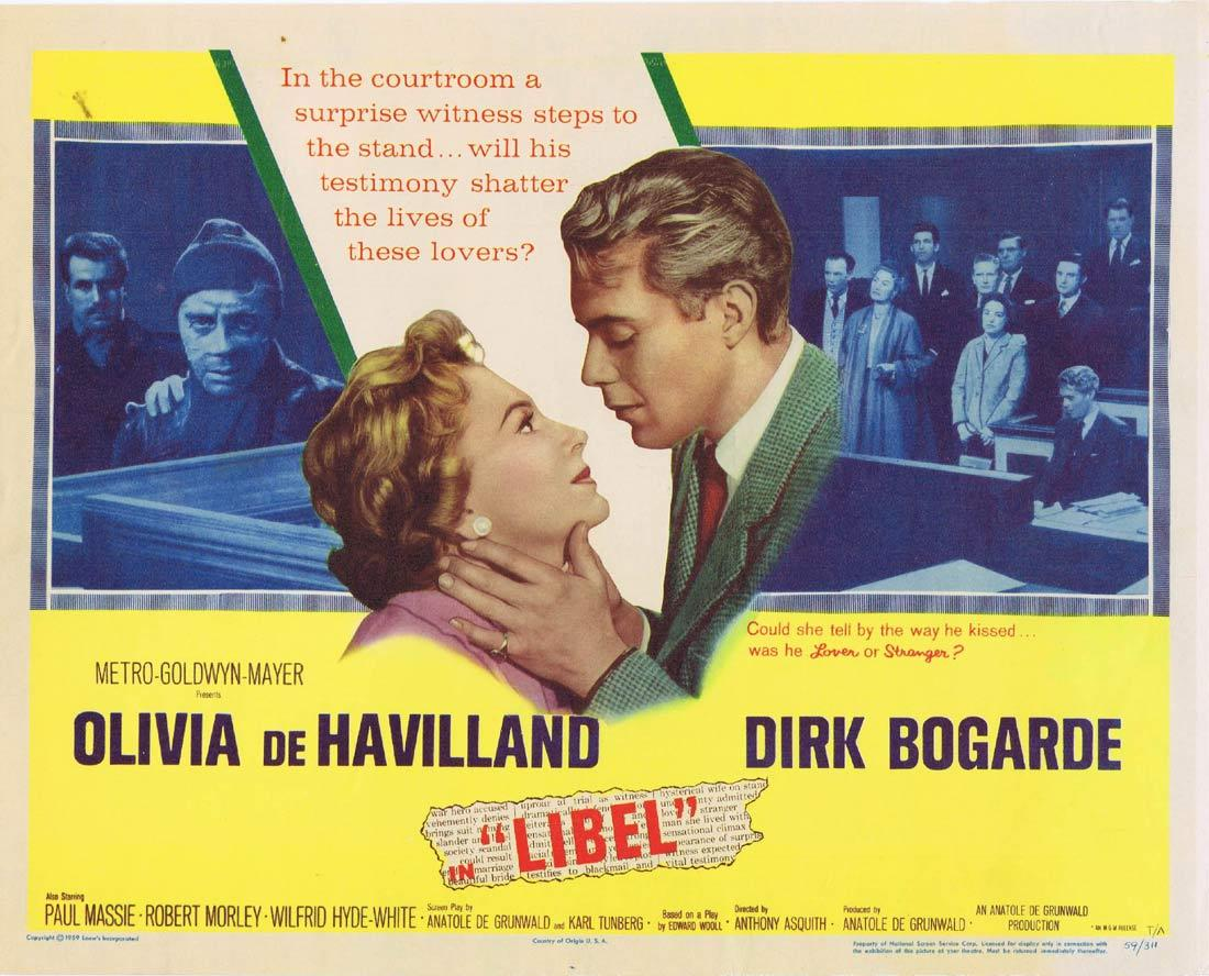 LIBEL Title Lobby Card Dirk Bogarde Olivia de Havilland Paul Massie