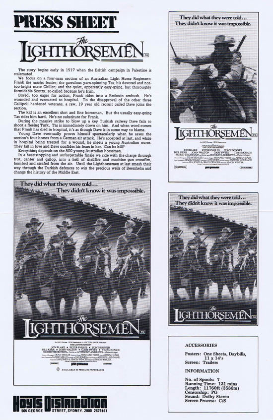THE LIGHTHORSEMEN Rare AUSTRALIAN Movie Press Sheet