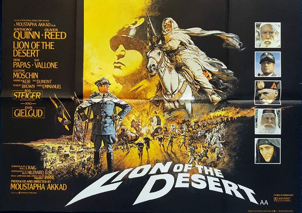 LION OF THE DESERT Original British Quad poster BRIAN BYSOUTH Artwork