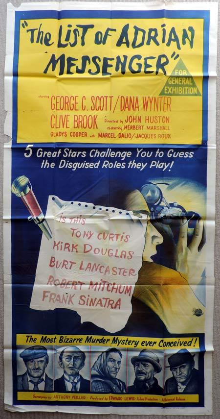 THE LIST OF ADRIAN MESSENGER Original 3 Sheet Movie Poster Kirk Douglas George C.Scott