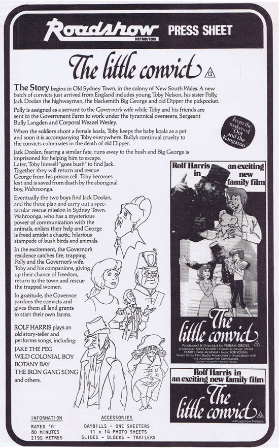 THE LITTLE CONVICT Rare AUSTRALIAN Movie Press Sheet