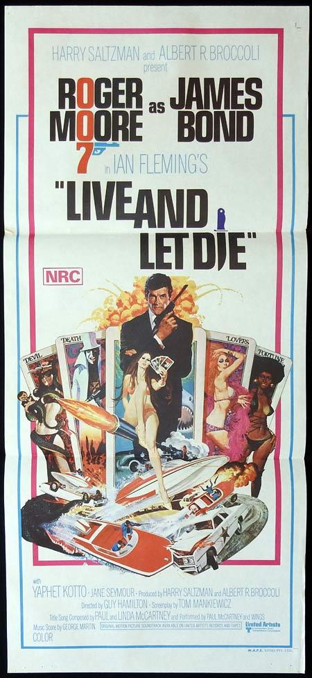 LIVE AND LET DIE Australian Daybill Movie Poster Roger Moore James Bond