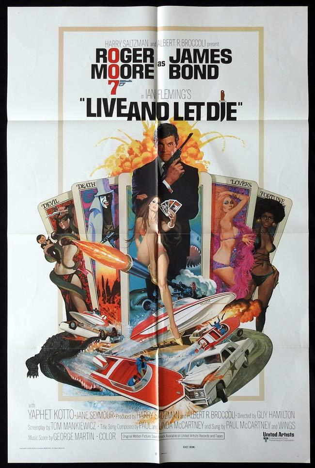 LIVE AND LET DIE Original One sheet Movie poster JAMES BOND Roger Moore