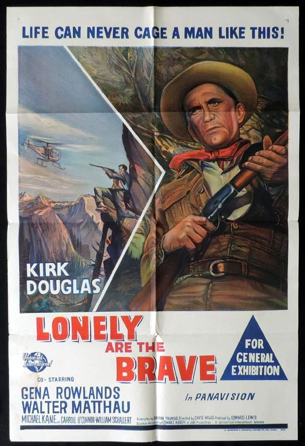 LONELY ARE THE BRAVE One Sheet Movie Poster Kirk Douglas