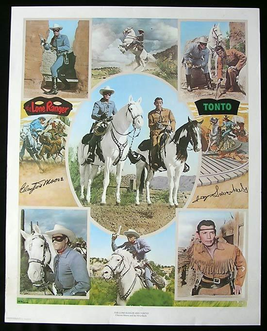 THE LONE RANGER Autographed poster signed by Jay Silverheels and Clayton Moore