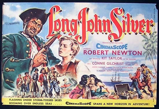 LONG JOHN SILVER 1954 RARE Australian Trade Ad Movie poster