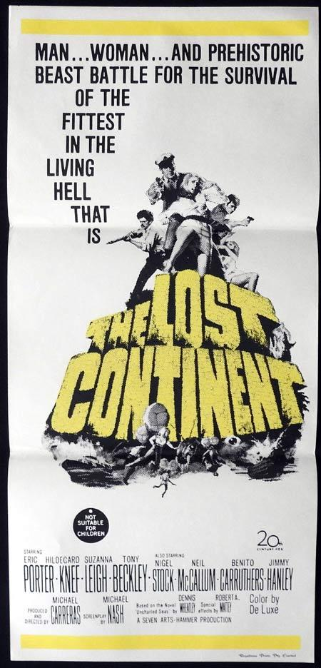 THE LOST CONTINENT Original Daybill Movie Poster Eric Porter Hildegard Knef Hammer Films