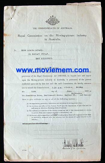 ROYAL COMMISSION ON THE MOVING PICTURE INDUSTRY IN AUSTRALIA Rare Document