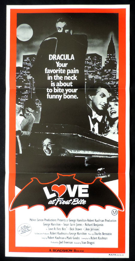 LOVE AT FIRST BITE Vintage daybill Movie poster George Hamilton as Dracula