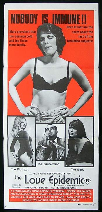 LOVE EPIDEMIC Movie Poster 1975 Ros Speirs SEXPLOITATION daybill