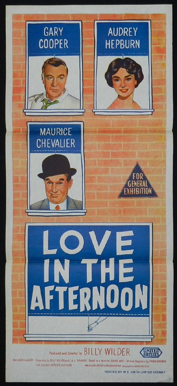 LOVE IN THE AFTERNOON 1957 Audrey Hepburn Australian Daybill Movie Poster