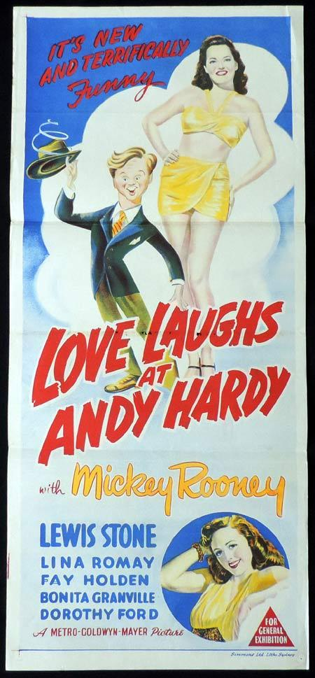 LOVE LAUGHS AT ANDY HARDY Original Daybill Movie Poster Mickey Rooney