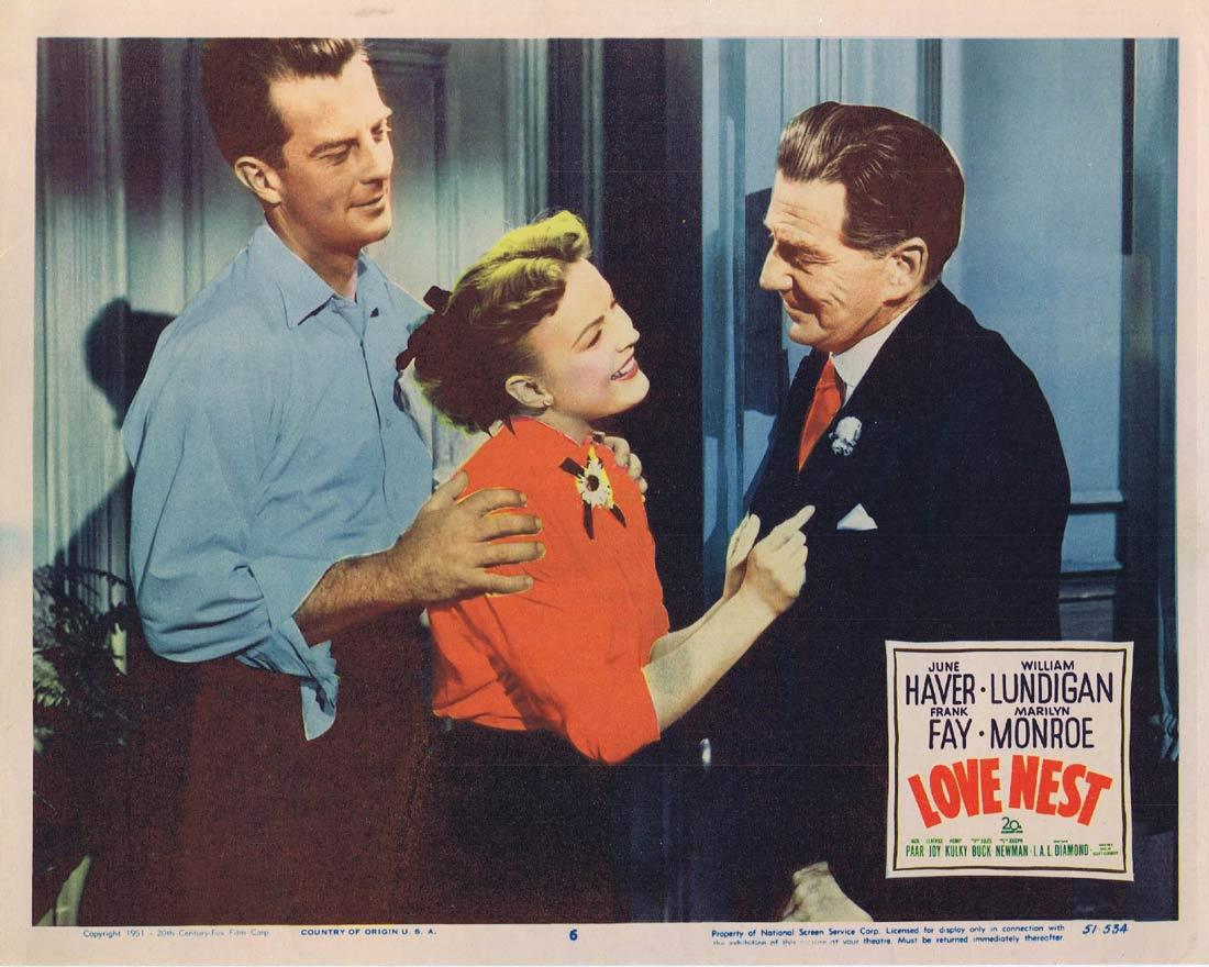 LOVE NEST Lobby Card 6 une Haver William Lundigan Frank Fay