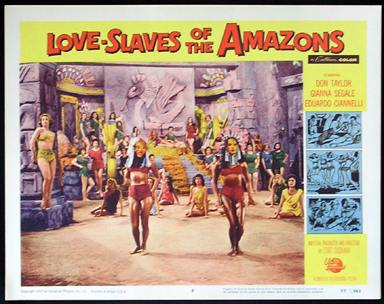 LOVE SLAVES OF THE AMAZON Lobby card 2 1957 Jungle Women