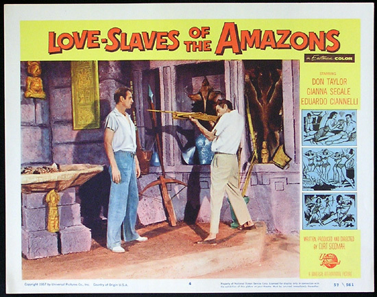 LOVE SLAVES OF THE AMAZON Lobby card 4 1957 Jungle Women