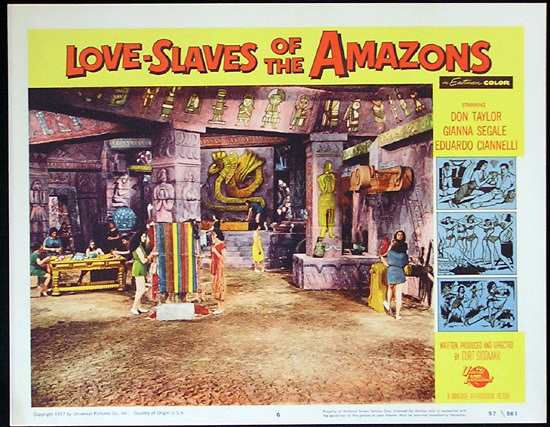 LOVE SLAVES OF THE AMAZON Lobby card 6 1957 Jungle Women