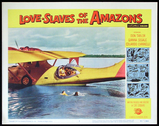 LOVE SLAVES OF THE AMAZON Lobby card 7 1957 Jungle Women