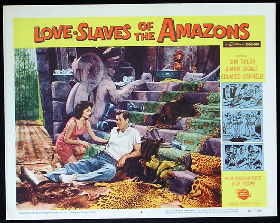 LOVE SLAVES OF THE AMAZON Lobby card 8 1957 Jungle Women