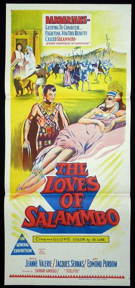 LOVES OF SALAMMBO Original Daybill Movie Poster Edmund Purdom Jeanne Valerie
