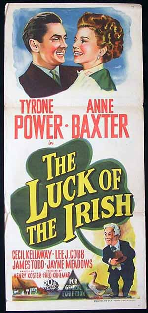 THE LUCK OF THE IRISH Original Daybill Movie poster Tyrone Power