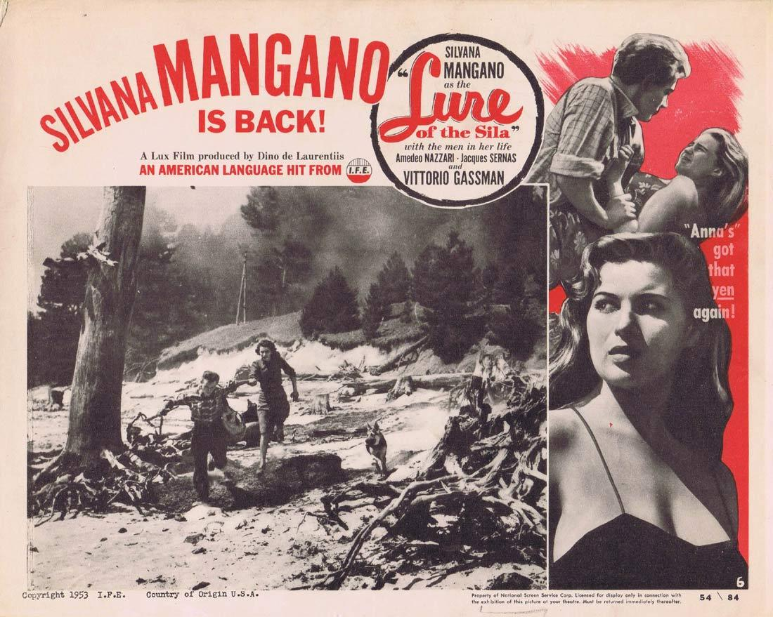 LURE OF THE SILA Original Lobby Card 6 Silvana Mangano Amedeo Nazzari Vittorio Gassman