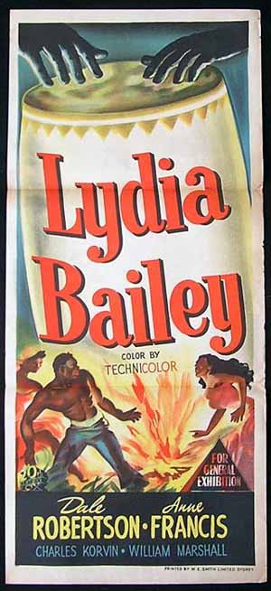 LYDIA BAILEY Daybill Movie poster Anne Francis