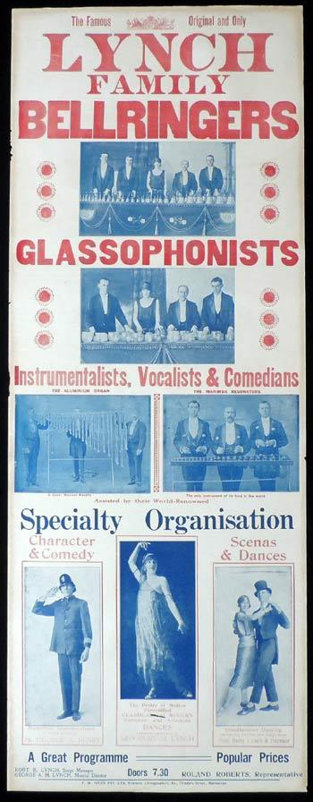 LYNCH FAMILY BELLRINGERS AND GLASSOPHONISTS c1914 Rare Original Theatre poster