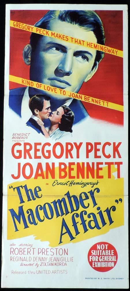 THE MACOMBER AFFAIR Original Daybill Movie Poster Joan Bennett Robert Cummings