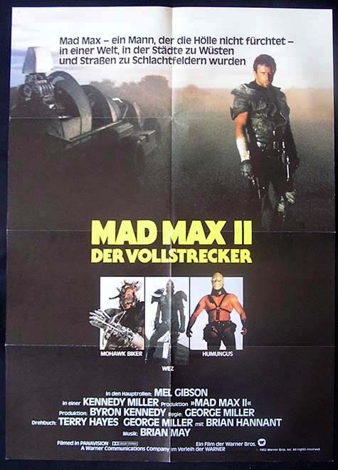 MAD MAX 2 '81 Mel Gibson GERMAN ONE SHEET Movie poster