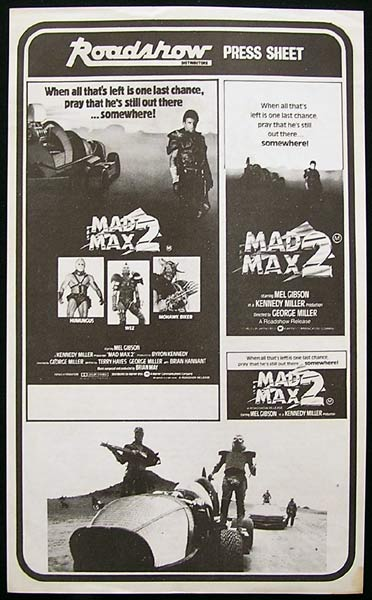 MAD MAX 2 Mel Gibson Rare Movie Press Sheet