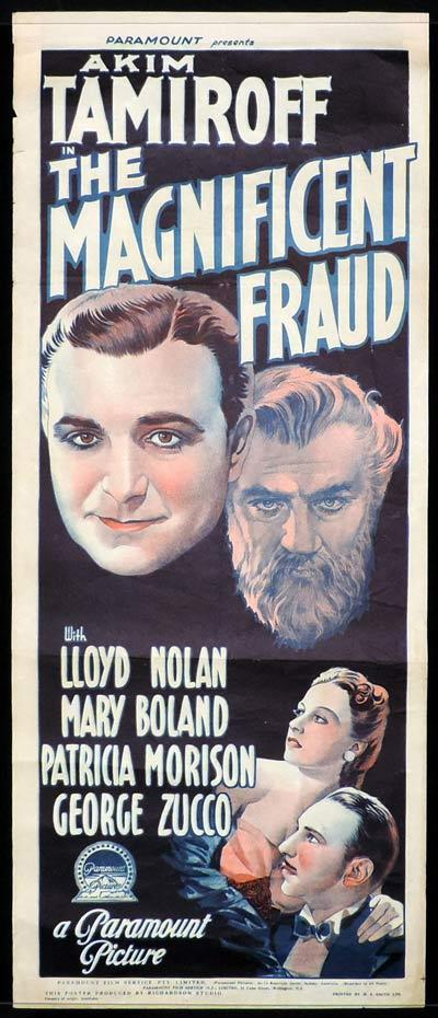 THE MAGNIFICENT FRAUD Long Daybill Movie poster 1939 Akim Tamiroff Lloyd Nolan