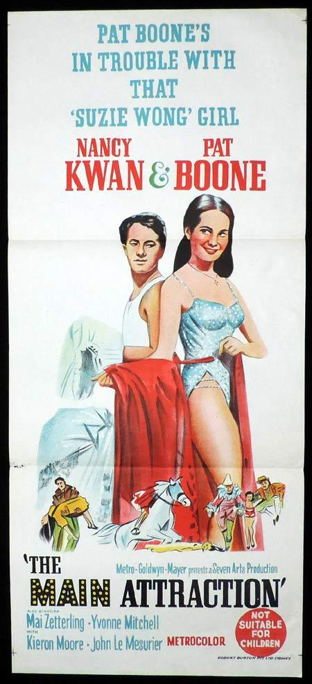 THE MAIN ATTRACTION Original Daybill Movie Poster Pat Boone Nancy Kwan