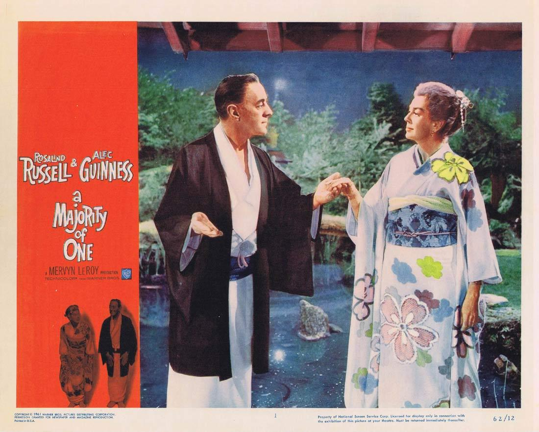 A MAJORITY OF ONE Lobby Card Rosalind Russell Alec Guinness Ray Danton