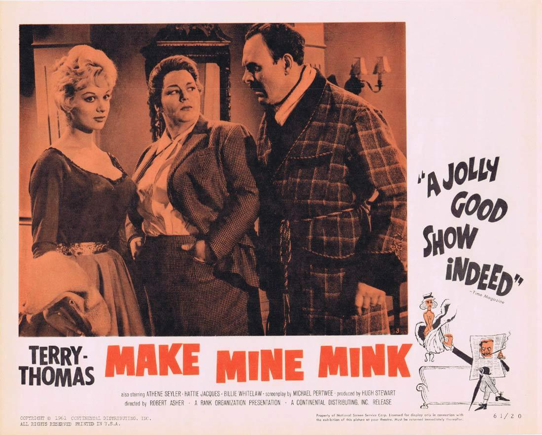 MAKE MINE MINK Lobby Card 3 Terry-Thomas Athene Seyler Hattie Jacques Billie Whitelaw