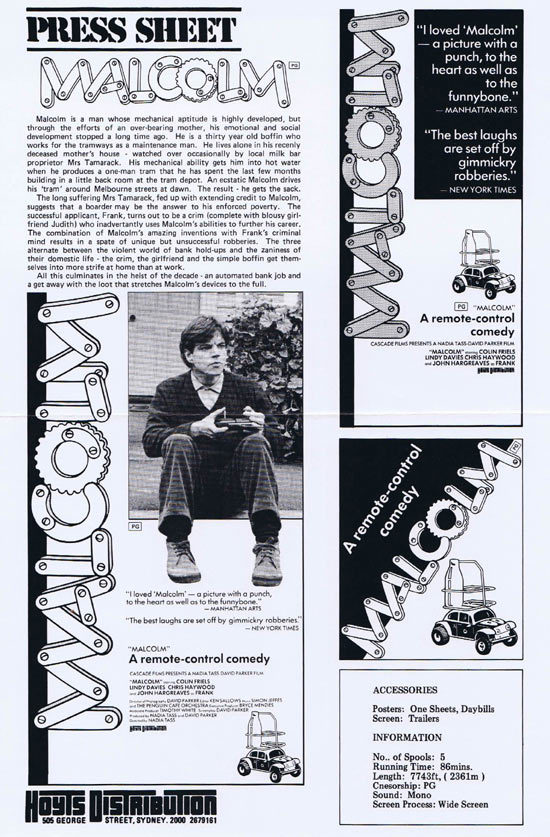 MALCOLM Rare AUSTRALIAN Movie Press Sheet