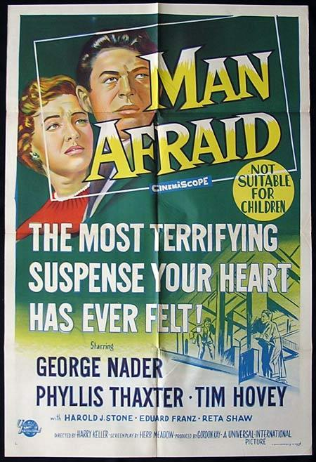 MAN AFRAID One Sheet Movie poster Phyllis Thaxter Film Noir