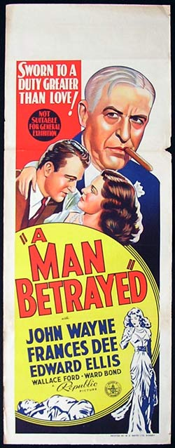 A MAN BETRAYED Daybill Movie poster John Wayne Frances Dee