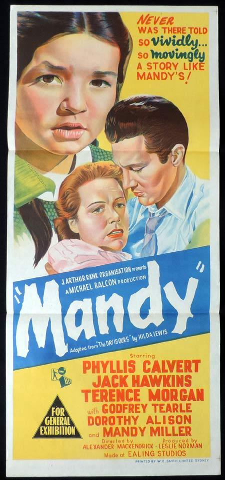 MANDY aka Crash of Silence Original Daybill Movie Poster Phyllis Calvert