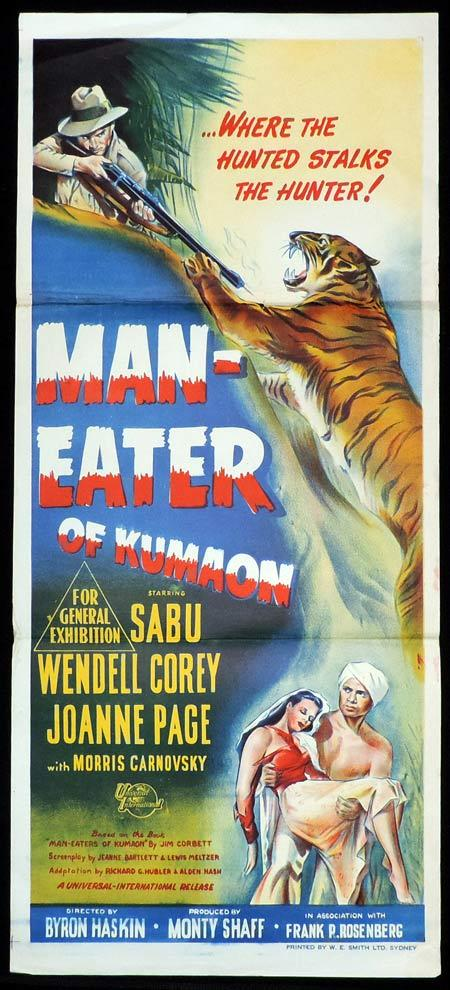 MAN EATER OF KUMAON Original Daybill Movie Poster Sabu Wendell Corey Tiger Art