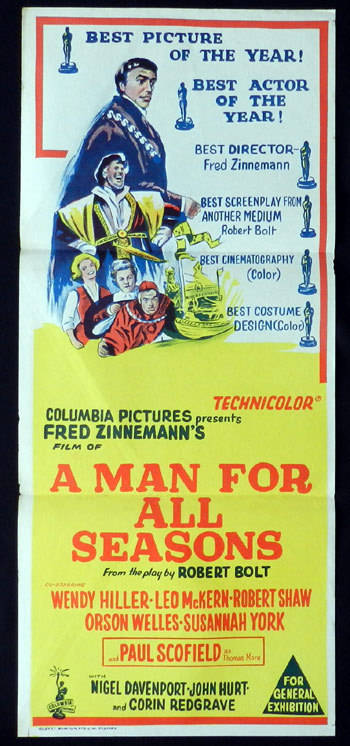 A MAN FOR ALL SEASONS Daybill Movie Poster Wendy Hiller Leo McKern Paul Scofield
