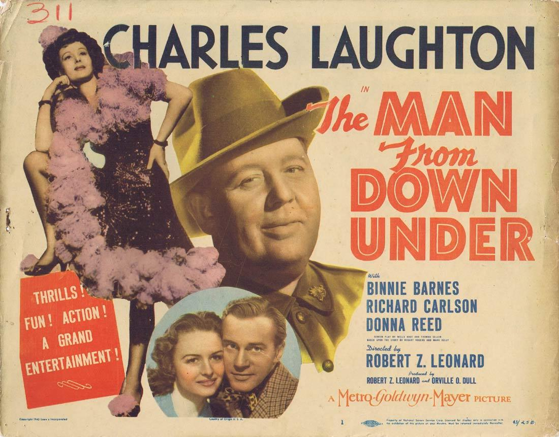 THE MAN FROM DOWN UNDER Original Title Lobby Card CHARLES LAUGHTON Binnie Barnes